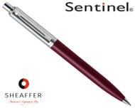 Sheaffer Sentinel Brushed Chrome & Burgundy C/T Ballpoint Pen