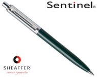 Sheaffer Sentinel Brushed Chrome & Green C/T Ballpoint Pen