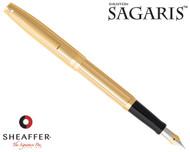 Sheaffer Sagaris Fluted Gold Tone Cap and Barrel Fountain Pen Fine