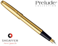 Sheaffer Prelude Fluted 22 Karat Gold Plate Fountain Pen