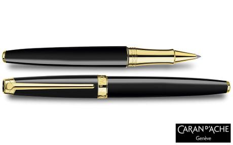 Caran d'Ache Leman Ebony Black Gold-Plate Trim Rollerball Pen