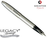 Sheaffer Legacy Heritage Sterling Silver Interrupted Barleycorn P/T Fountain Pen Broad