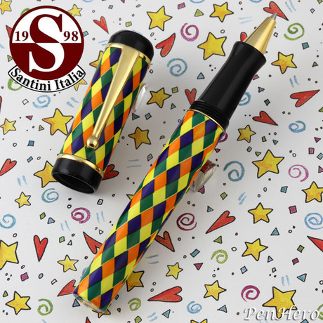 Santini Italia Arlecchino Blue Orange Yellow Green Harlequin Rollerball Pen