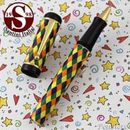Santini Italia Arlecchino Blue Orange Yellow Green Harlequin Rollerball Pen