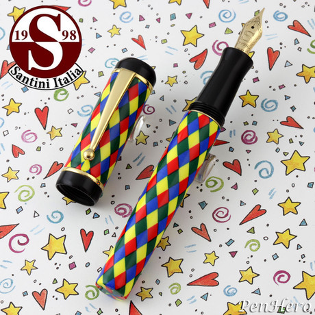 Santini Italia Arlecchino Blue Red Yellow Green Harlequin Fountain Pen Medium