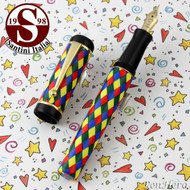 Santini Italia Arlecchino Blue Red Yellow Green Harlequin Fountain Pen Medium