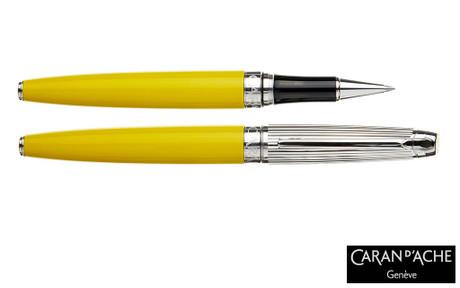 Caran d'Ache Leman Bicolor Yellow Silver-Plate Trim Rollerball Pen