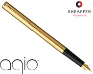 Sheaffer Agio Angle Brushed 22 Karat Gold Plate Fountain Pen Medium