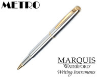 Waterford Marquis Metro Chrome / Gold Plate Trim Rollerball Pen