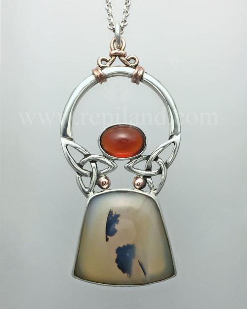 Montana Agate & Hessonite Garnet pendant.