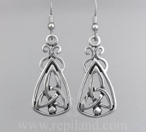 Mairsinn Earrings, triskele and bead in large triangular drop.
