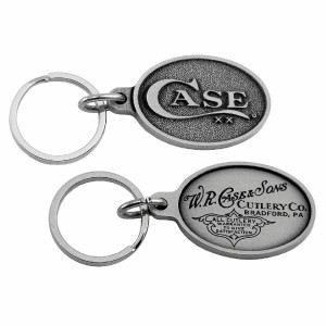 Case XX 50126 Knife Accessories Oval Pewter Key Chain has a Case Logo on Front & W.R Case & Sons Signature on Back and is the perfect Accessory for Case Fans.