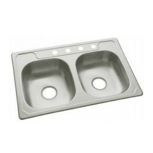 """Sterling 14633-4-NA Stainless Steel 6"""" Double Basin Bowl Kitchen Sink 23 Gauge"""
