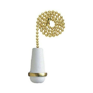 "Westinghouse 77009 White Wooden Cone 12"" Decorative Pull Chain"