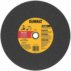 "DeWalt DW8001 General Purpose Metal Cutting Chop Saw Wheel 14"" x 7/64"" x 1"""