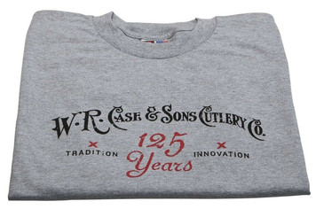 Case XX Knife Accessories Gray 125 Year Anniversary Medium T-Shirt features Case 125th Anniversary Logo w/ Red Case Oval on back. 90% Cotton 10% Polyester.