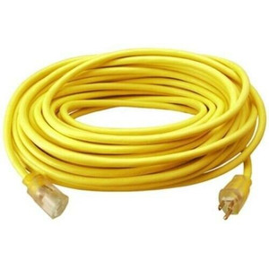 Master Electrician 02589ME 100 ft Yellow Round Extension Cord w Light