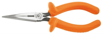 "Klein Insulated Standard Long Nose Pliers - 8"" Side Cutting"