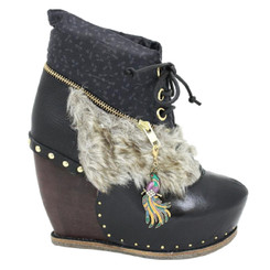 Irregular Choice Bun in the Oven, Platform Fur, Funky boot, peacock