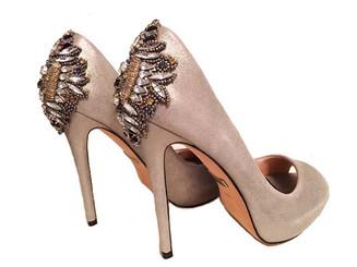 Badgley Mischka Kiara, Silver open toe, platform heel, embellished back heel, Badgley Mischka size 6