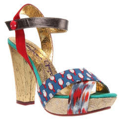 irregular choice whoopi, mix pattern wooden high heel sandal, multi-color sandal