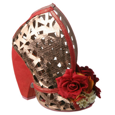 Irregular Choice Chocolate Banana Smt, Contour laser cut leather curved high heel, Red