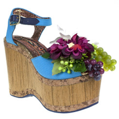 Irregular Choice French Villa, Wooden Platform Seventies Sandal with Floral decor