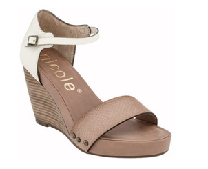 Nicole Savannah Sandal, Two tone wedge sandal, truffle color
