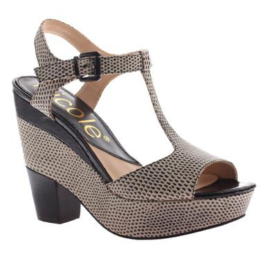 Nicole Gerry Sandal, T-Strap High Heel Sandal, animal print