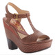 Nicole Gerry Sandal, T-Strap High Heel Sandal, havanna deep red