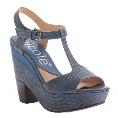 Nicole Gerry Sandal, T-Strap High Heel Sandal, Dany Blue reptile print
