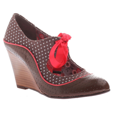 Quarter View: Women's Shoes, Poetic Licence Brightly Beaming, new chestnut, Retro wooden wedge with polka dots