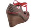 Back View: Women's Shoes, Poetic Licence Brightly Beaming, new chestnut, Retro wooden wedge with polka dots