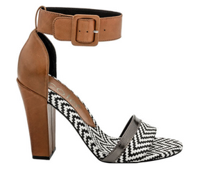 Nicole Barri Sandal- Women's High Heel Ankle Strap Sandal- Black White and  Tan leather