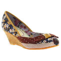 Poetic Licence Charmed Life, Yellow & brown Mix pattern floral and polka dot wedge