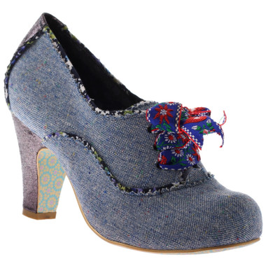Irregular Choice Summer Berry- Womens Blue Tweed Ankle boot with contrast piping.