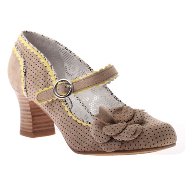 Quarter View: Women's Shoes, Poetic Licence Adjenda, High Heel Mary Jane- Natural and yellow edging