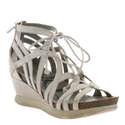 "Quarter View: OTBT- Nomadic Sandal- Women's Platform Leather Gladiator Sandal with 2.25"" Wedge Heel- White Leather"