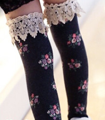 Berky Boo- Cocoa Knee Socks- Floral printed knee socks with lace trim- Dark Charcoal heather
