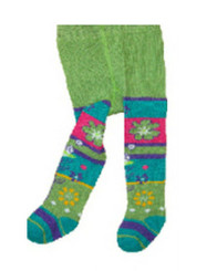 Berky Boo Bella Tights- Green with Multi Stripe patterns