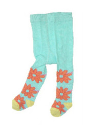 Berky Boo Bella Tights- Pale Blue with Orange flowers