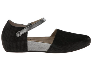 OTBT Kalamazoo- Women's Flat Mary Jane Clog- Black and Silver