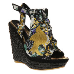 Irregular Choice Kupcake- Women's espadrille Wedge- Hemp with Black Bird Print-Black Cream