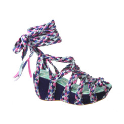 Irregular Choice Mish and Mash, Ankle wrap sandal, braided straps, in color purple multi