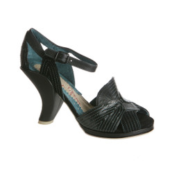 Irregular Choice Little Miss O- High Heel Sandal with Contrast Stitching- Black