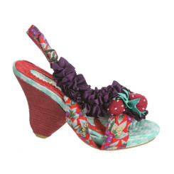 Irregular Choice Raspberry Ripples, Wooden Heel Slingback Sandal with Strawberry Charm- Grey Purple Color