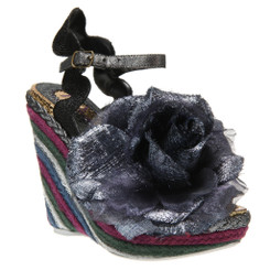 Irregular Choice Weavers, Striped woven wedge with oversized fabric flower- Black and purple