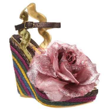 Irregular Choice Weavers, Striped woven wedge with oversized fabric flower- Pink Gold and Purple