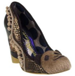 Irregular Choice Cougar Cubs, Brown with pom pom fringe and teddy bear face at front