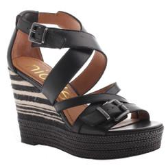 Nicole shoes- Danica- Women's Wedge Sandal, Striped Wedge Heel- Black
